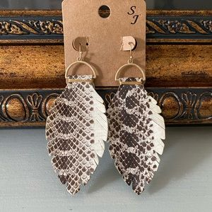 Leather Snake Print Earrings